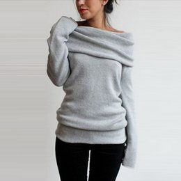 Discount pullover grey women - Wholesale-New Fashion Autumn Winter Casual Pullover Women's Clothing Slash Neck Long Sleeve Coat Outerwear Tops Swe