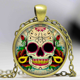 Discount sugar skulls wholesale - Wholesale Glass Dome Jewelry - Skull Necklace Sugar Skull Necklace Pendants Skull Necklace WomenMen