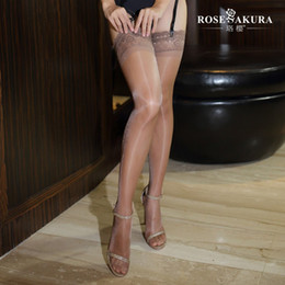 85370146979 Wholesale- Sheer Lace Top Thigh High Stockings with Stay Up Silicone 12 Den  Shine Oil with Peacock Feather Pattern Lace Top Detail