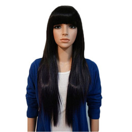 long straight dark brown wigs Canada - WoodFestival long straight wig women natural cheap hair wigs long black wigs with bangs light brown dark brown 70 cm