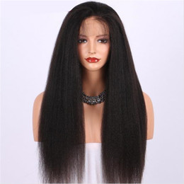 indian kinky straight full lace wig NZ - Celebrity Wigs Full Lace Wig Fashion Indian Hair Wig Kinky Straight Human Hair 26 inch Front Lace Wig with Natural Hairline Free Shipping