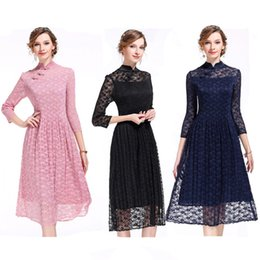 $enCountryForm.capitalKeyWord Canada - Spring & Summer Fashion Lace Crochet Three-quarter Length Sleeves Bodycon Dress Silm Skirt A-line Skirt for Women