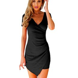 Robes De Bandage Polyester En Gros Pas Cher-Vente en gros - Sexy Women Irregular Hem Bandage Bodycon Dress Party Robe courte à manches courtes en V-Neck Mini noir
