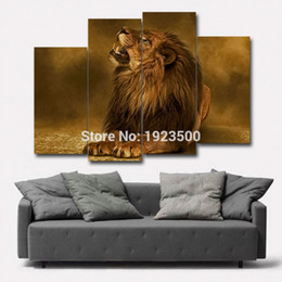 Lion Pictures Print Canada - Wholesale Unframed Modern Lion Picture Painting on Canvas for Living Room Modular Unframed Wall Art Canvas African Animal Print