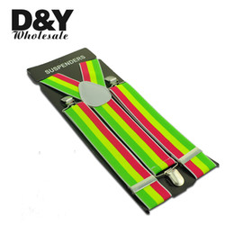 "wide belts men 2019 - Wholesale- Men Women Suspender Unisex Clip-on Braces Elastic Suspender 3.5cm Wide ""Green Yellow Red"" stripe Pa"