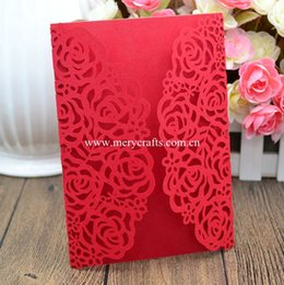 Wholesale  Personalized Rose Flower Wedding Invitation Card Laser Cut  Invitation Card Wedding Invitations