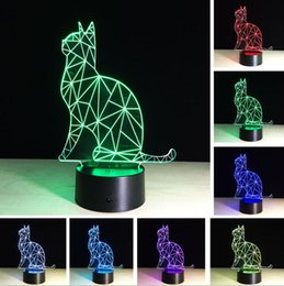 friends decor Canada - Hot Wholesale 3D Benumbed Cat 7 Color Changing LED Night Light Illusion Desk Lamp Child Baby Bedroom Home Decor Best Friend & Holiday Gifts
