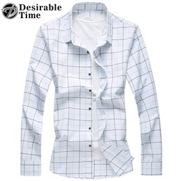 Chemises Longues À La Mode Au Printemps Pas Cher-Vente en gros - 2017 Spring Men White Plaid Shirt Grande taille 6XL 7XL Hommes Habillement Fashion Long Sleeve Casual Shirts For Men DT435