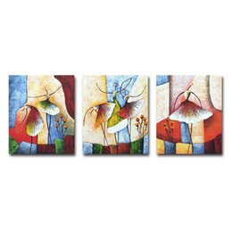 $enCountryForm.capitalKeyWord UK - 3 Panels Oil Paintings Hand Painted Dance Ballet Pictures for Living Room Canvas Wall Decor Stretched
