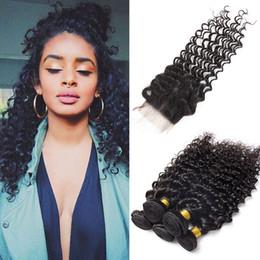 Wave Human Hair Bundles Canada - Deep Wave Curly Hair Weaves 3 Bundles With Closure Remy Human Hair Unprocessed Peruvian Indian Malaysian Brazilian Mink Hair Weave Wave