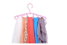 Ring Ties Canada - Newest Prastic 7 Rings Hole Heart Scarf Belt Tie Necktie Clothes Rack Hanger Loop Save Space for Closet office Home Hangers