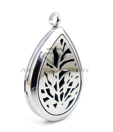 E Necklaces Canada - Chains as gifts Oil Drop Silver Leaf (30mm) E Aromatherapy   Essential Oils Diffuser Locket Necklace Stainless Steel Diffuser Locket