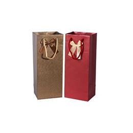 $enCountryForm.capitalKeyWord UK - 14.5*11.5*36.5cm Craft Paper Gift Bag Bowknot Decor Double Wine Bottle With Handle Christmas Wedding Favors ZA4035