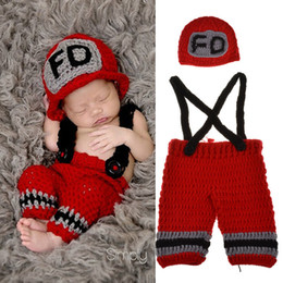 newborn knit costumes NZ - Newborn Baby Photography Props Firemen Sets Two Pieces Kids Elastic Crochet Hat Knitted Suspenders Cosplay Costume Photo Prop