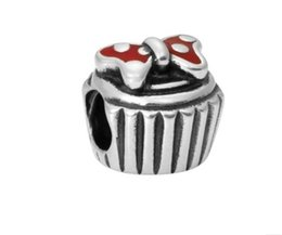 Chinese  Fits Pandora Bracelets 30pcs Mickey Cake Silver Charm Bead Loose Beads For Wholesale Diy European Sterling Necklace Jewelry Xmas manufacturers