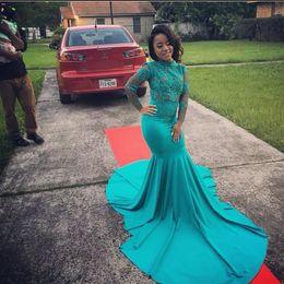 $enCountryForm.capitalKeyWord NZ - 2K17 Hunter Green High Neck Long Sleeve Prom Dresses Sheer APplique Lace Custom Made Evening Gowns