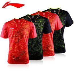 Barato Camisas T-shirt Grossistas-Atacado! Novo Li-Ning Homens Red Tennis Team Team Olympic2016 Shirt Shorts Set MEN T-SHIRT