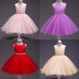 Wholesale Stock Beaded Crystal Pink Pageant Dresses for Kids Jewel Neck Short First Communion Dresses Birthday Party Dresses MC1044