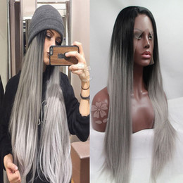 $enCountryForm.capitalKeyWord NZ - Synthetic Lace Front Wig Long Silky Straight Ombre Grey Lace Front Wig Natural Black Ombre Grey Two-Tone Synthetic Lace Front Wig For Women