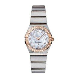 Großhandel Luxus-Frauen kleiden Uhren 28mm elegantes Edelstahl-Rosen-Gold passt Qualitäts-Dame Rhinestone-Quarz-Armbanduhren auf