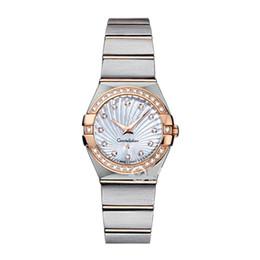 Ingrosso Orologi da donna eleganti Orologi da 28 mm Elegante in acciaio inossidabile Oro rosa Orologi da polso da donna al quarzo con strass di alta qualità
