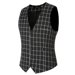 Longue Robe Vintage Pas Cher-New Arrival Classic Plaid Hommes Suit Vest Groom Robe Manteau Men's Business Blazer Waistcoat Fashion Vintage Wedding Clothes Z20
