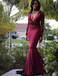 $enCountryForm.capitalKeyWord Canada - Sexy Deep V Neck Prom Dresses 2017-2018 Burgundy Mermaid Long Sleeves Evening Gowns With Black Sequins Appliques Open Back Women Formal Wear
