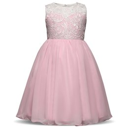 f69e23a6782 Summer new fashion girls dresses 4 colors big girls party costume teens lace  tulle princess gowns children s button dresses for 5-9 years