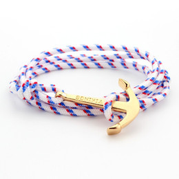 fashion paracord bracelets Canada - 2017 Anchor Weave Bracelets Infinity Women Men Bracelet Wrap Rope Charm Fish Hook With Paracord Bangle Fashion Jewelry Best Selling