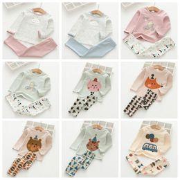 Discount cartoon blue t shirt - Baby Pajamas Ins Kids Clothing Sets Girls Cotton T-shirt Pants Suits Boys Cartoon Long Sleeve Tops Pants Outfits Sleepsu