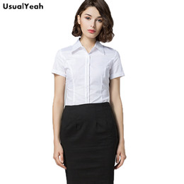 7c641d27e6 UsualYeah New 2017 Women Office Lady Body Shirt Blouse Solid White Button  Short sleeve Turn-down Collar Blusas S-XXL SY0341