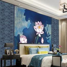 Vente en gros Papier peint photo personnalisé 3d papier peint moderne Lotus fond bleu mur salon chambre TV mur