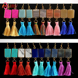$enCountryForm.capitalKeyWord Australia - Wholesale 10 Pairs Attractive Design Gold Color Vintage Style Quartz Stone Square Earrings Long Tassel Earrings Statement Jewelry