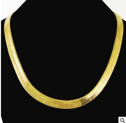 $enCountryForm.capitalKeyWord Canada - 10mm large flat snake necklace 14k gold plated necklace men's necklace