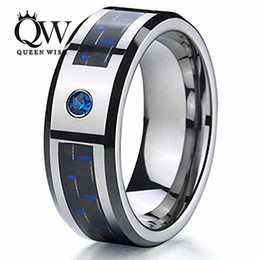 tungsten carbide fiber ring Canada - Queenwish Wedding Ring Tungsten Carbide Engagement Bands 8mm Black & Blue Carbon Fiber Inlay & Blue Stone Matching Couple Anniversary Ring