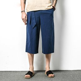 3df0f49c0 Men Cotton Linen Casual Harem Pants Male Straight Loose Short Trousers China  Style Solid Color Wide Leg Pant