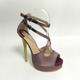 $enCountryForm.capitalKeyWord Canada - Dust Purple Satin Bridal Shoes Peep Toe High Heels T-strap Platform High Heels Ankle Straps Stilettos Wedding Shoes Plus Size US4-15