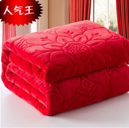 king size 200x230cm rose red color blanket super soft warm coral fleece blankets throw blanket on bed sofa home free shipping