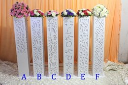 Stand Led Light NZ - 6pcs lot 115*20*20cm Fantasy Wedding Carved Pillar Banquet Road Lead Stand Decoration With LED Light Built-In