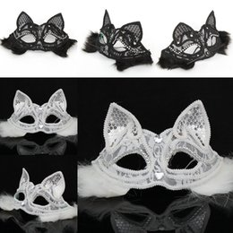 Discount sexy black halloween dresses - Sexy Lady Cat Mask Black White Lace Half Fox Mask Dress Party Animal Face Accessories Masquerade Halloween Party Prop