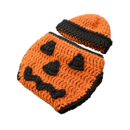 diapers summer UK - Newborn Knit Jack O Lantern Costume,Handmade Crochet Baby Boy Girl Pumpkin Hat Diaper Cover Set,Infant Toddler Halloween Costume Photo Props