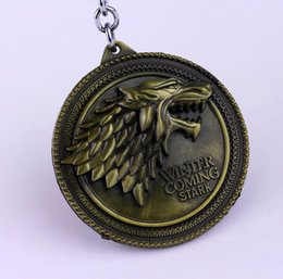$enCountryForm.capitalKeyWord Canada - Game of Thrones Shield Keychain Wolf Head Logo House Stark High Quality Maxi Keychain Men Car Accessories Wolf Head Keyrings