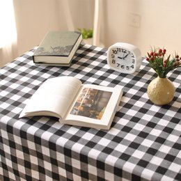 Black And White Cell Table Cloth Western Style European High Quality Linen RectangularTablecloth Decorative Elegant Cover