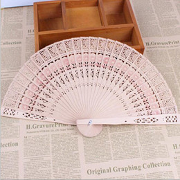 wholesale wood carving china 2018 - Bridal Wedding Fans Chinese Wooden Fans Bridal Accessories Handmade 8'' Fancy Cheap Wedding Favours Small Gift