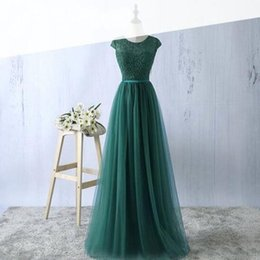 Barato Mangas Elegantes Do Tampão Do Vestido De Noite-Dark Green Elegant Prom Dreses Cheap Evening Party Vestidos Sheer Jewel Neck Capped Manga curta Lace Tulle Longo vestido formal