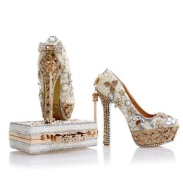 ivory pearl bridal bag Canada - 2017 Newest Design White Pearl Wedding Shoes with Matching Bag Gorgeous Handmade High Heels Women Crystal Bridal Shoes