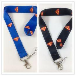 $enCountryForm.capitalKeyWord Australia - Hot!20pcs Mix Classic Design Black Blue Hero SUPERMAN LANYARD KEY CHAIN Ring Keychain ID Holder NEW