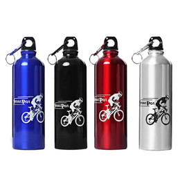 China Wholesale- New 750ML Portable Aluminum Alloy Sport bottle Water Bottle with hook keychain for Outdoor Sports Cycling Camping Water Bottle cheap steel centre suppliers