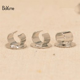 diy hair accessories rope 2019 - BoYuTe 100Pcs Metal Brass White K Plated Hair Rope Clasp, Clips, Diy Hair Accessories with 8MM Base cheap diy hair acces