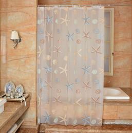 $enCountryForm.capitalKeyWord Australia - Waterproof Shower Curtain PEVA mildew Bathroom Curtains cute starfish Pattern with Hooks Free print wholesale LJ022
